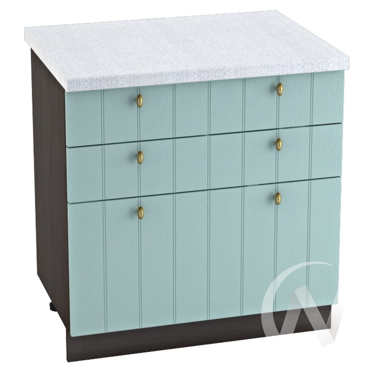 "Кухня ""Прованс"": Шкаф нижний с 3-мя ящиками 800, ШН3Я 800 (голубой/корпус венге)"