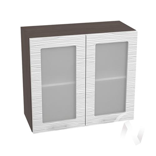 """Кухня """"Валерия-М"""": Шкаф верхний со стеклом 800, ШВС 800 (Страйп белый/корпус венге)"""