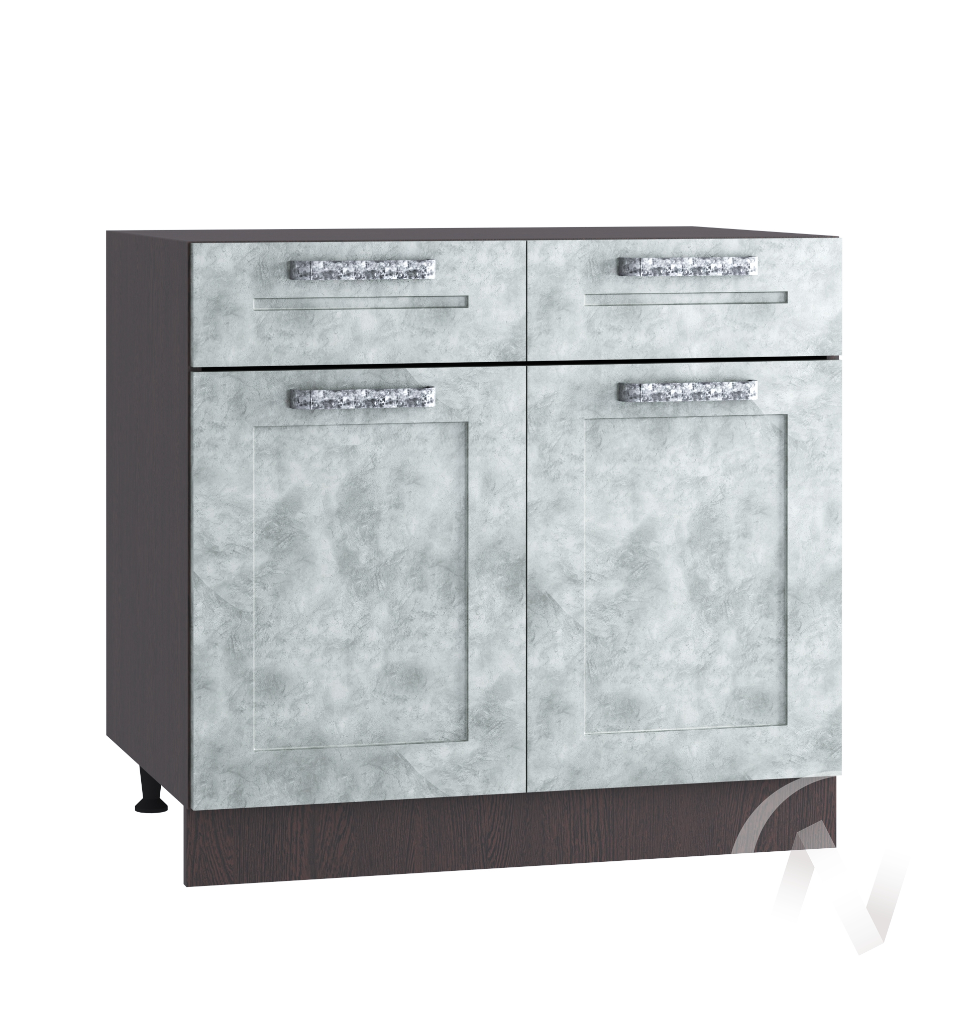 "Кухня ""Лофт"": Шкаф нижний с ящиками 800, ШН1Я 800 (Бетон серый/корпус венге)"