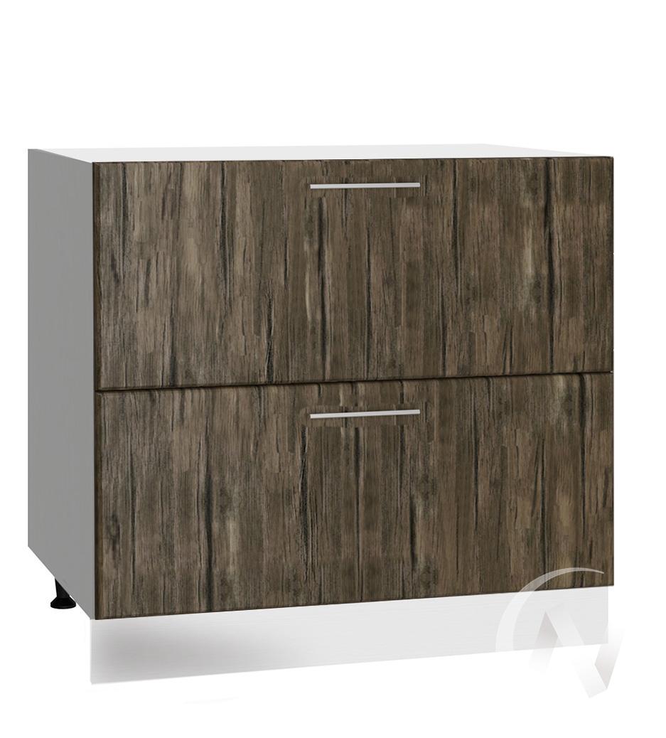 """Кухня """"Норден"""": Шкаф нижний с 2-мя ящиками 800, ШН2Я 800 (старое дерево/корпус белый)"""