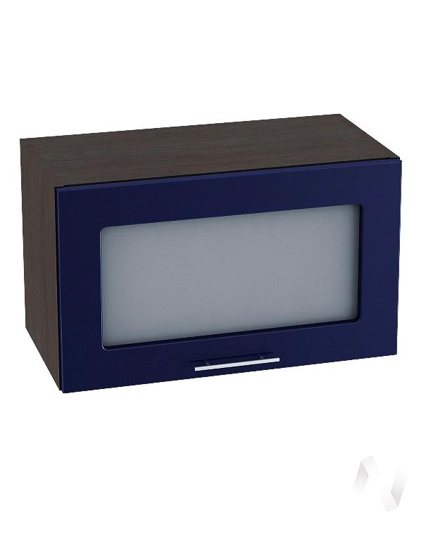 """Кухня """"Валерия-М"""":Шкаф верхний горизонтальный со стеклом 600,ШВГС 600 (Синий глянец/корпус венге)"""