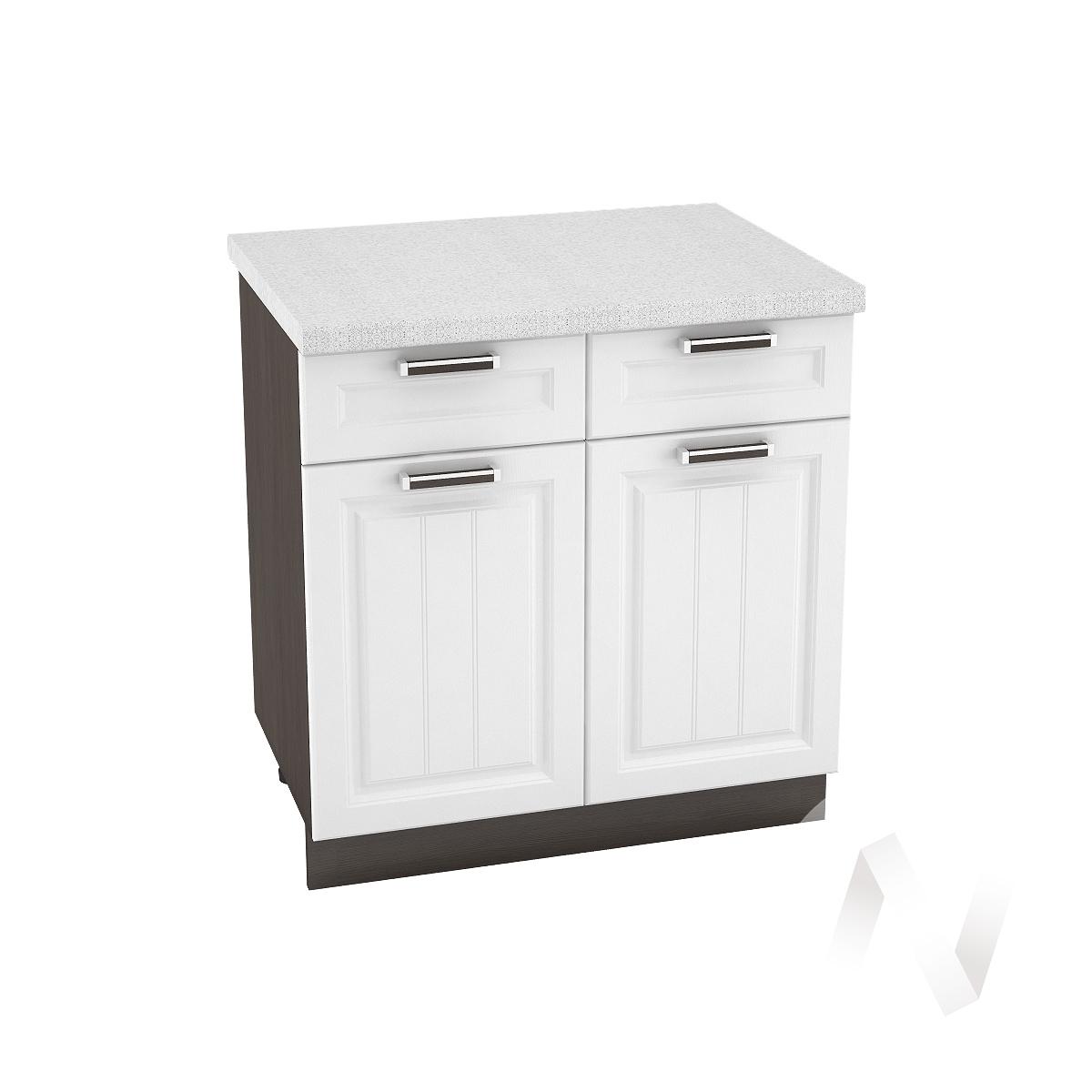 """Кухня """"Прага"""": Шкаф нижний с ящиками 800, ШН1Я 800 (белое дерево/корпус венге)"""