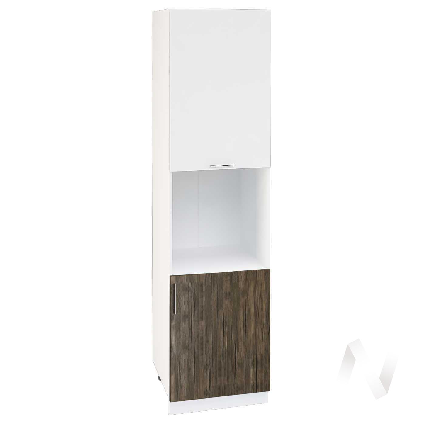 """Кухня """"Норден"""": Шкаф пенал 600Н, ШП 600Н (старое дерево/белый глянец/корпус белый)"""