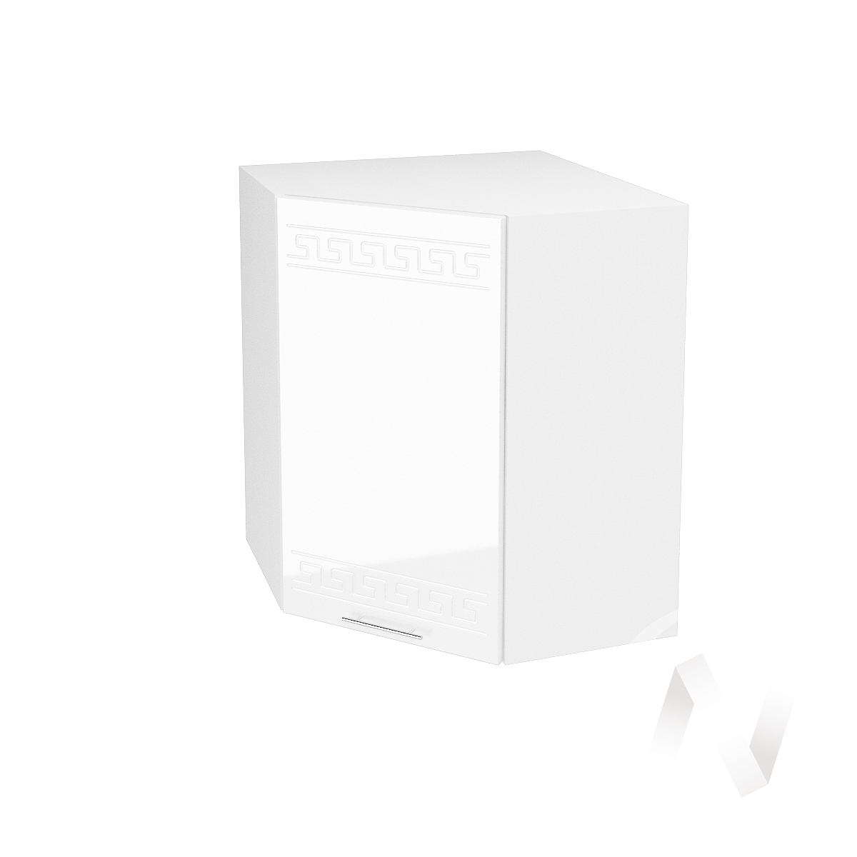"Кухня ""Греция"": Шкаф верхний угловой 590, ШВУ 590 (белый металлик/корпус белый)"