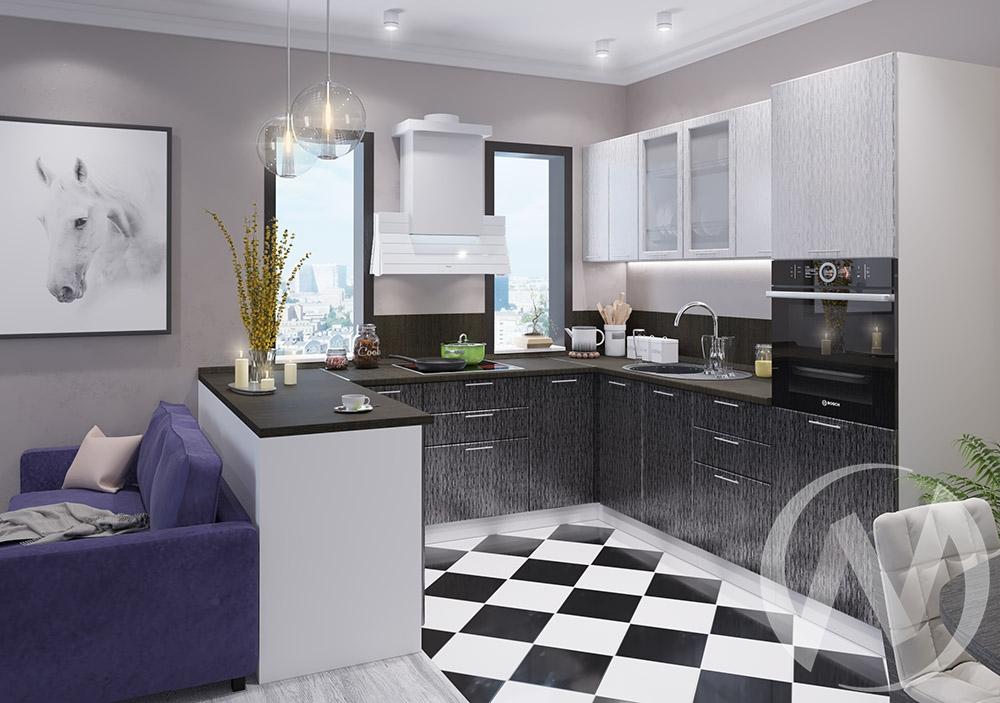 """Кухня """"Валерия-М"""": Дождь серый/Дождь черный (корпус белый)"""