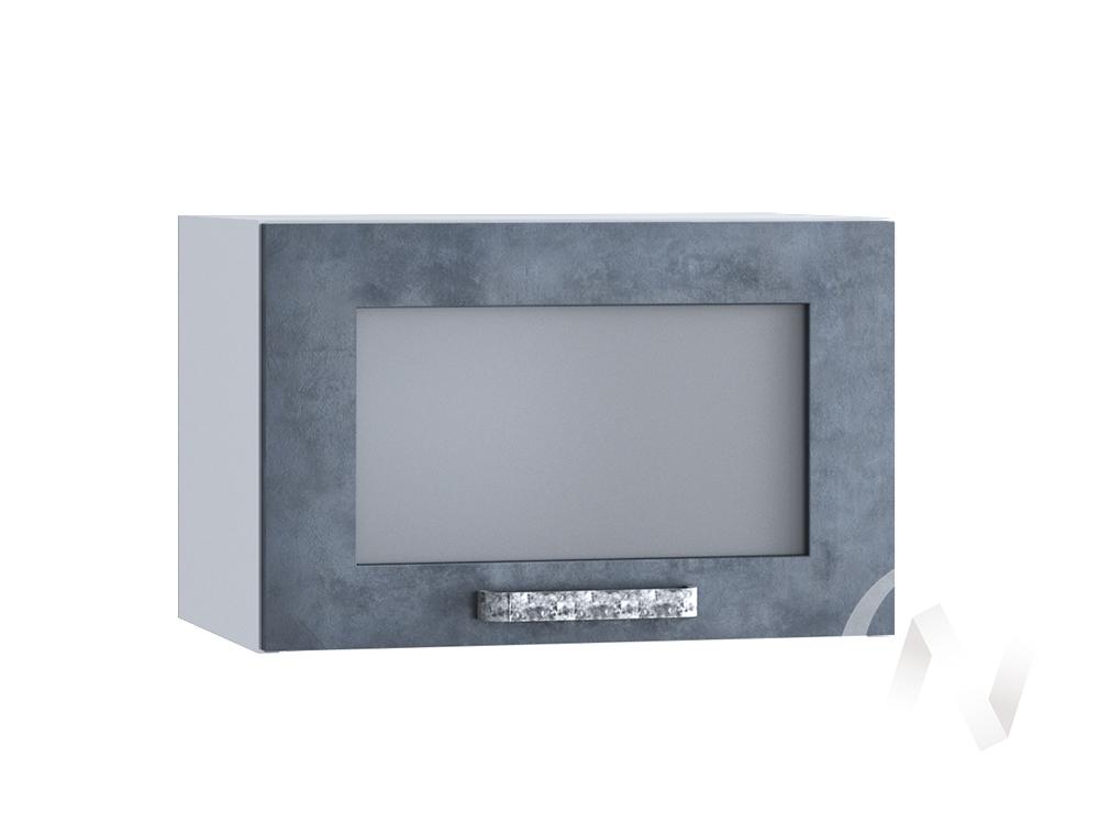 """Кухня """"Лофт"""": Шкаф верхний горизонтальный со стеклом 500, ШВГС 500 (Бетон графит/корпус белый)"""