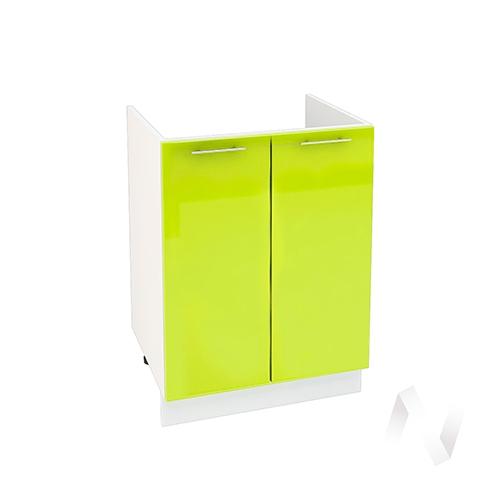 "Кухня ""Валерия-М"": Шкаф нижний под мойку 600, ШНМ 600 (лайм глянец/корпус белый)"