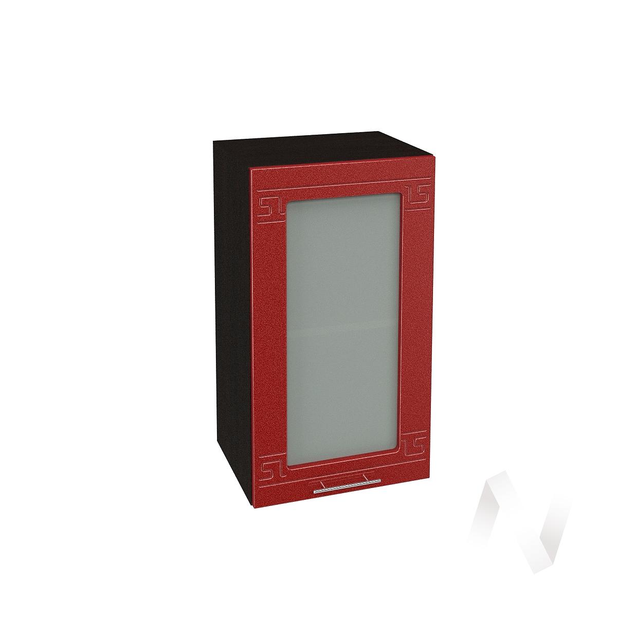 """Кухня """"Греция"""": Шкаф верхний со стеклом 400, ШВС 400 (гранатовый металлик/корпус венге)"""