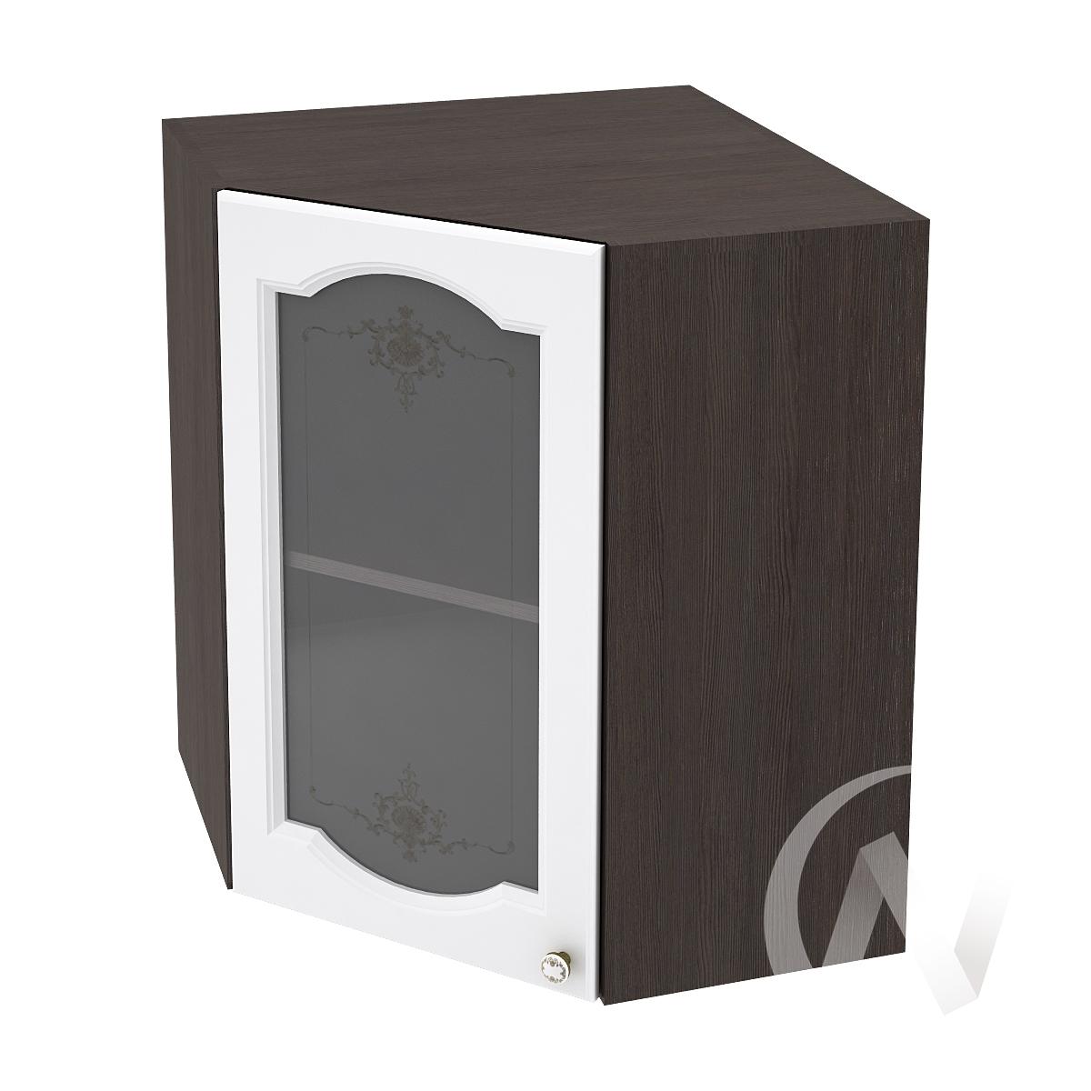 """Кухня """"Шарлиз"""": Шкаф верхний угловой со стеклом 590, ШВУС 590 (корпус венге)"""