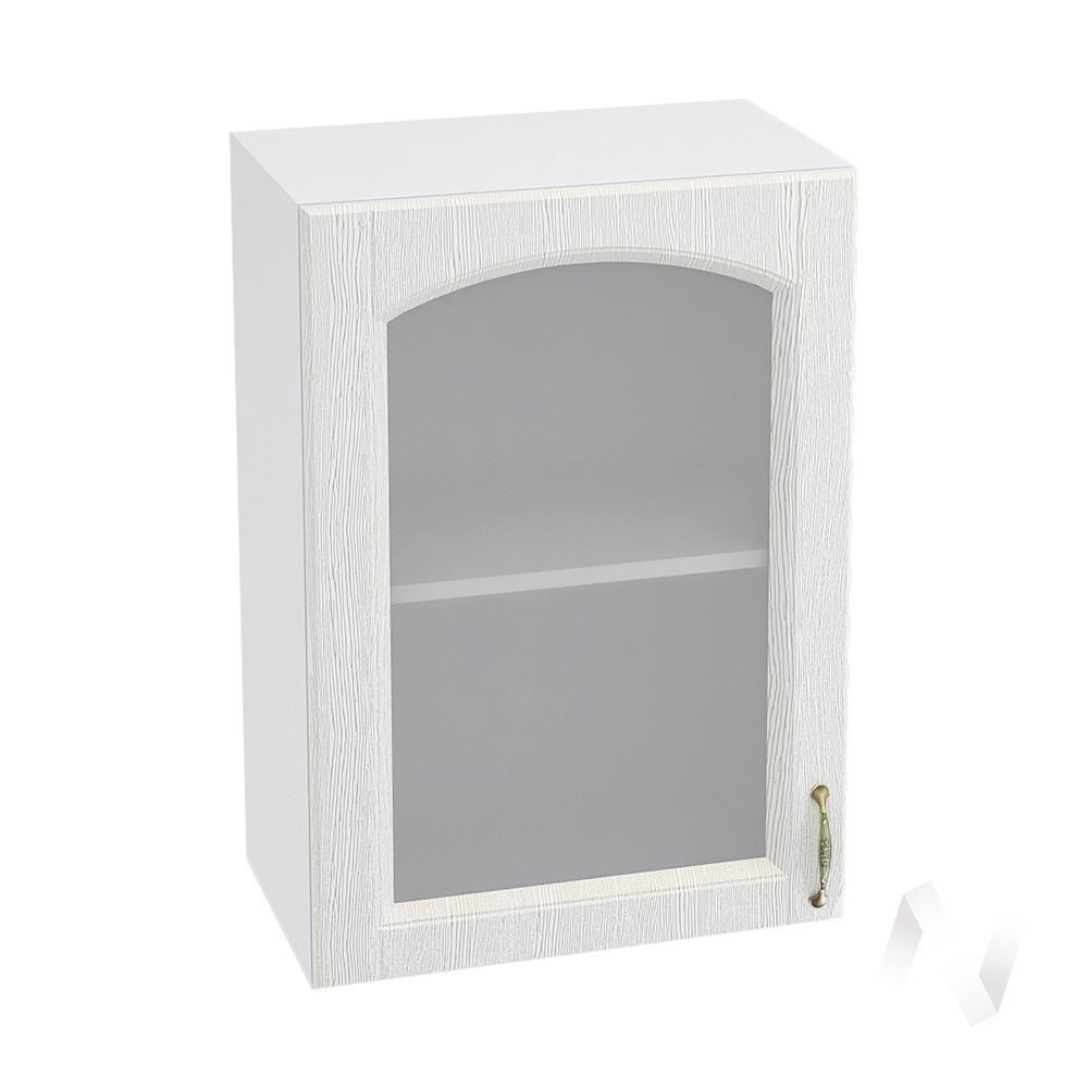 """Кухня """"Верона"""": Шкаф верхний со стеклом 500, ШВС 500 (ясень золотистый/корпус белый)"""
