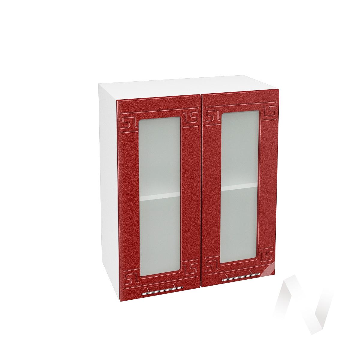 """Кухня """"Греция"""": Шкаф верхний со стеклом 600, ШВС 600 (гранатовый металлик/корпус белый)"""