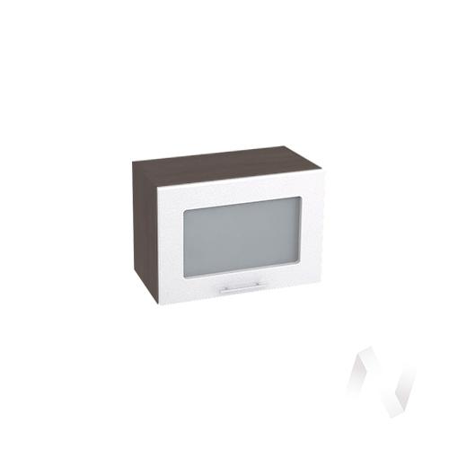 """Кухня """"Валерия-М"""": Шкаф верхний горизонтальный со стеклом 500, ШВГС 500 (бел.металлик/корпус венге)"""