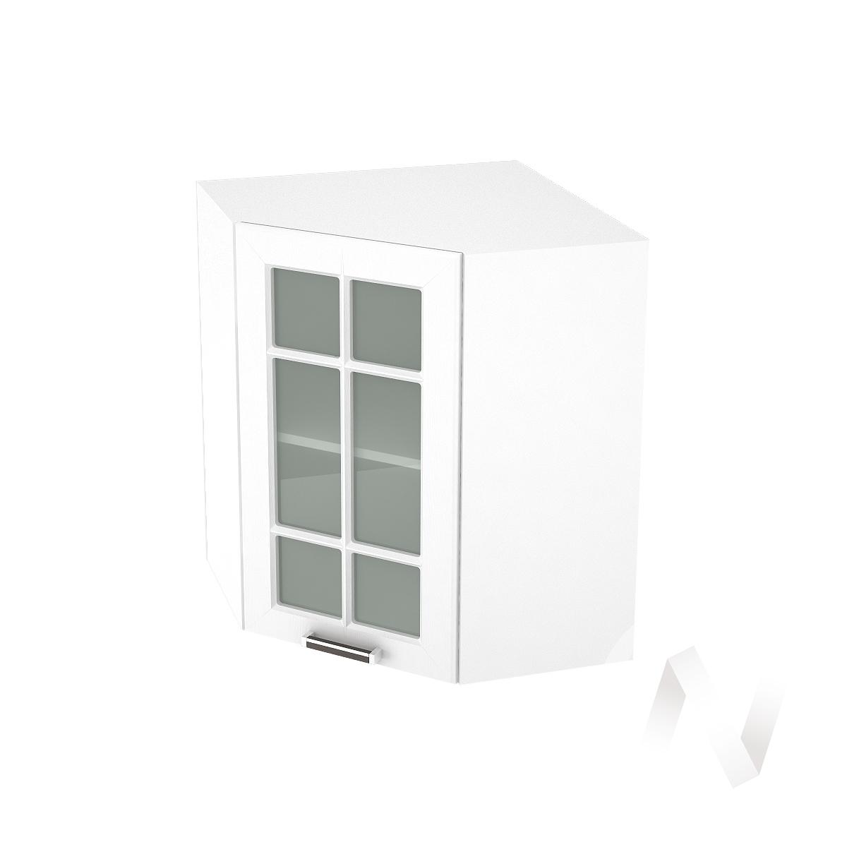 """Кухня """"Прага"""": Шкаф верхний угловой со стеклом 590, ШВУС 590 (белое дерево/корпус белый)"""