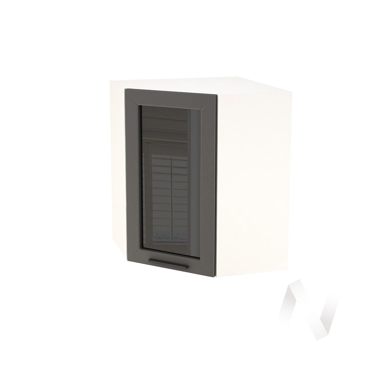 """Кухня """"Глетчер"""": Шкаф верхний угловой со стеклом 590, ШВУС 590 (Маренго силк/корпус белый)"""