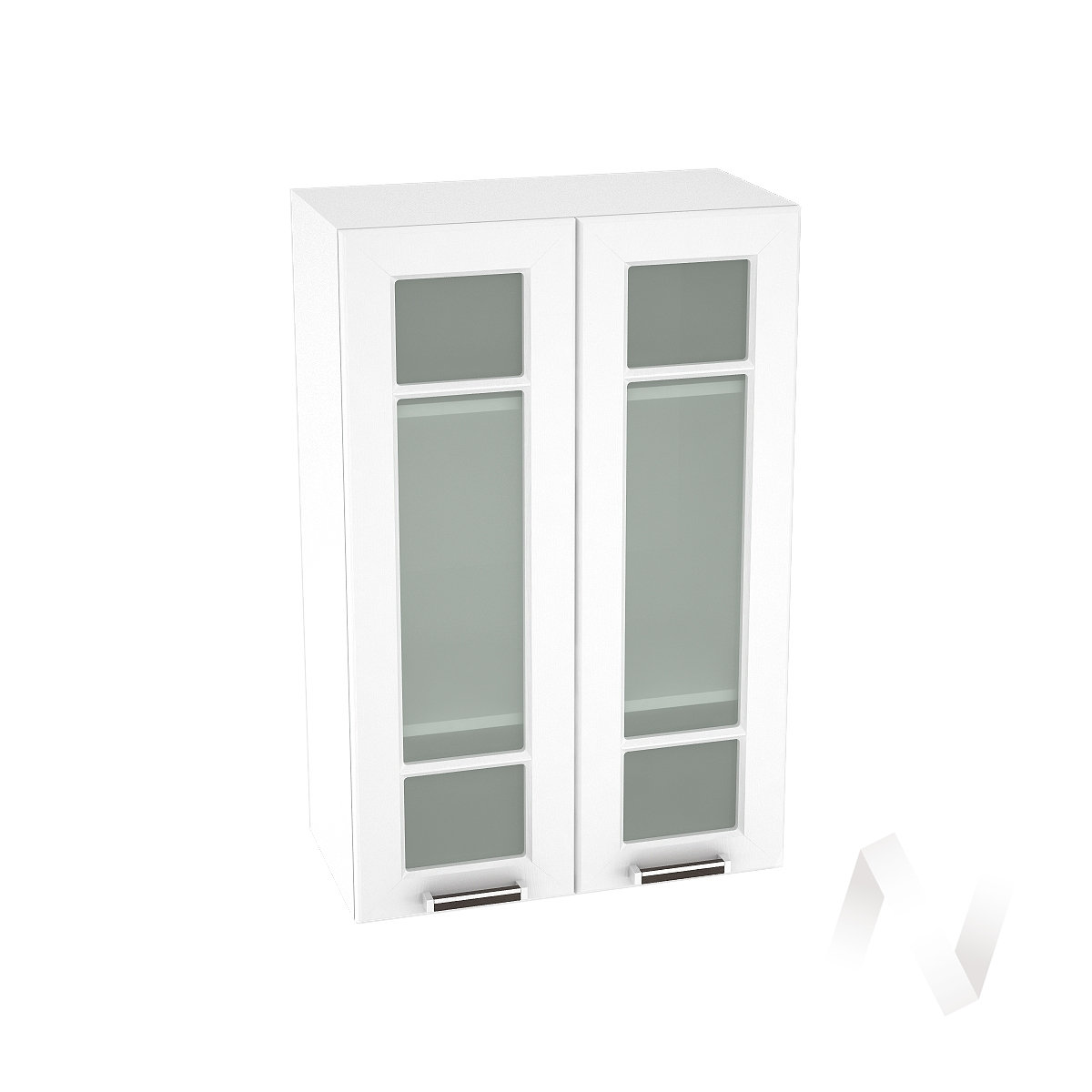 """Кухня """"Прага"""": Шкаф верхний со стеклом 609, ШВС 609 (белое дерево/корпус белый)"""