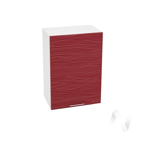 """Кухня """"Валерия-М"""": Шкаф верхний 500, ШВ 500 (Страйп красный/корпус белый)"""