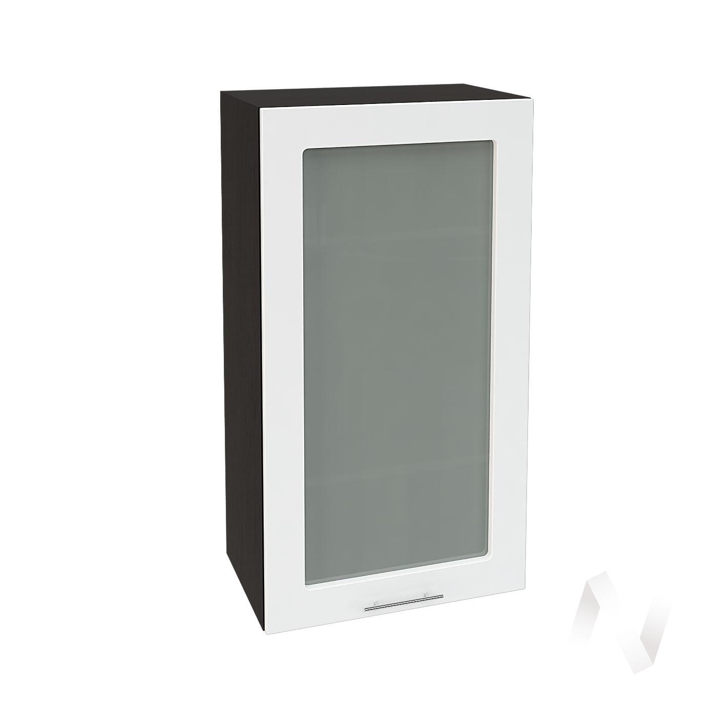"""Кухня """"Валерия-М"""": Шкаф верхний со стеклом 509, ШВС 509 (белый глянец/корпус венге)"""