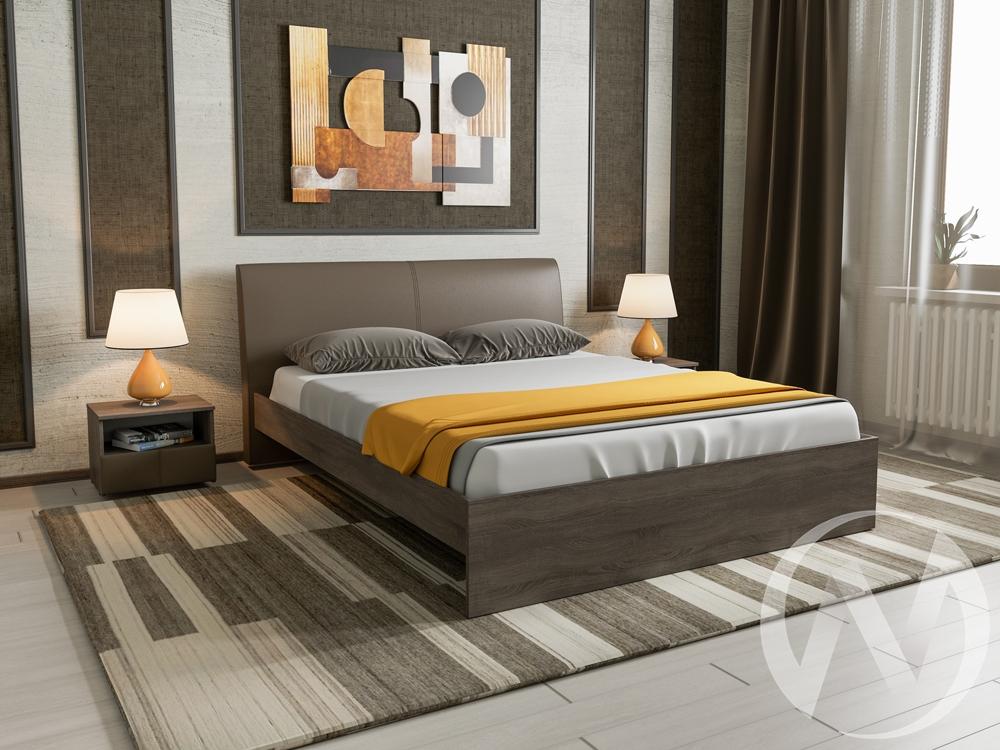 Кровать Доминика 1,6 основание ЛДСП (дуб сонома трюфель/кожзам коричневый) недорого в Томске — интернет-магазин авторской мебели Экостиль