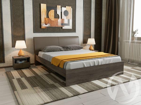 Кровать Доминика 1,6 основание ЛДСП (дуб сонома трюфель/кожзам коричневый)