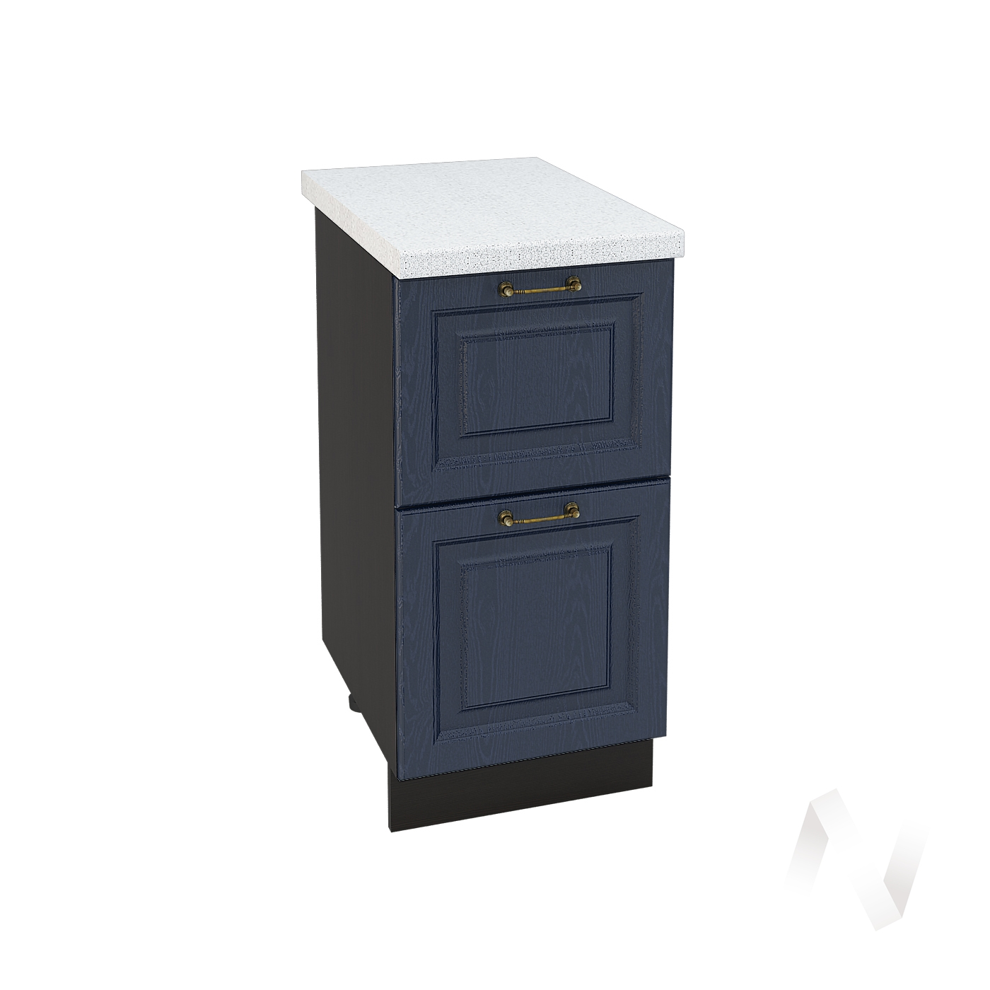 """Кухня """"Ницца"""": Шкаф нижний с 2-мя ящиками 400, ШН2Я 400 (Дуб чернильный/корпус венге)"""
