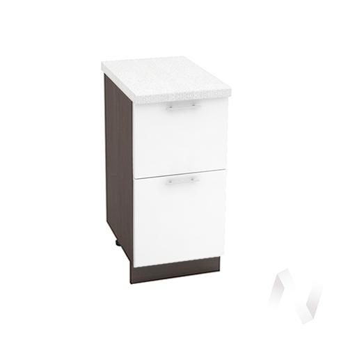 """Кухня """"Валерия-М"""": Шкаф нижний с 2-мя ящиками 400, ШН2Я 400 (белый глянец/корпус венге)"""