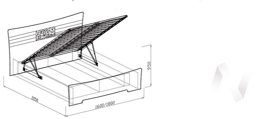 Атлантида Кровать 1,6 с подъемным механизмом (венге-белый глянец) в Томске — авторская мебель Экостиль