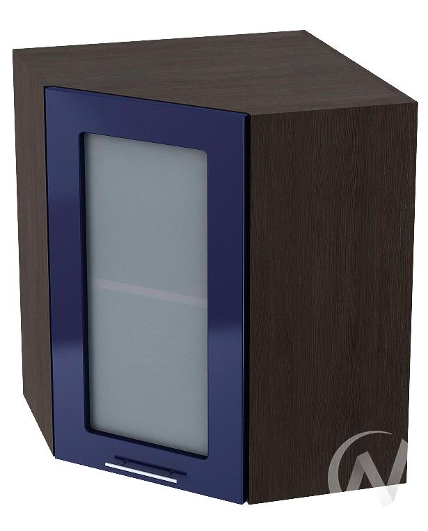 """Кухня """"Валерия-М"""": Шкаф верхний угловой со стеклом 590, ШВУС 590 (Синий глянец/корпус венге)"""