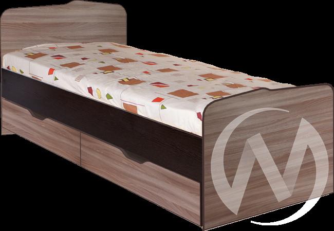 МС Статус М-23 Кровать 800*2000 с ящиками (венге-ясень шимо темный)