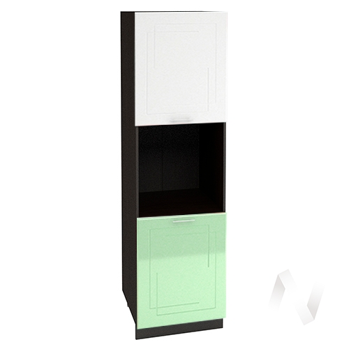 "Кухня ""Вега"": Шкаф пенал 600, ШП 600 (белый/салатовый металлик/корпус венге)"