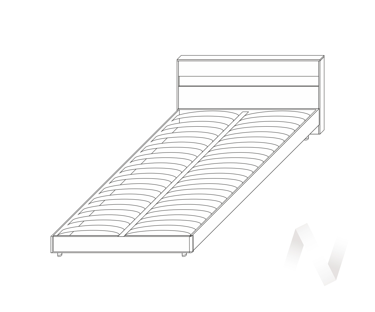 Кровать Флоренция 1600 б/матр.(ясень шимо темный/ясень шимо светлый)  в Новосибирске - интернет магазин Мебельный Проспект