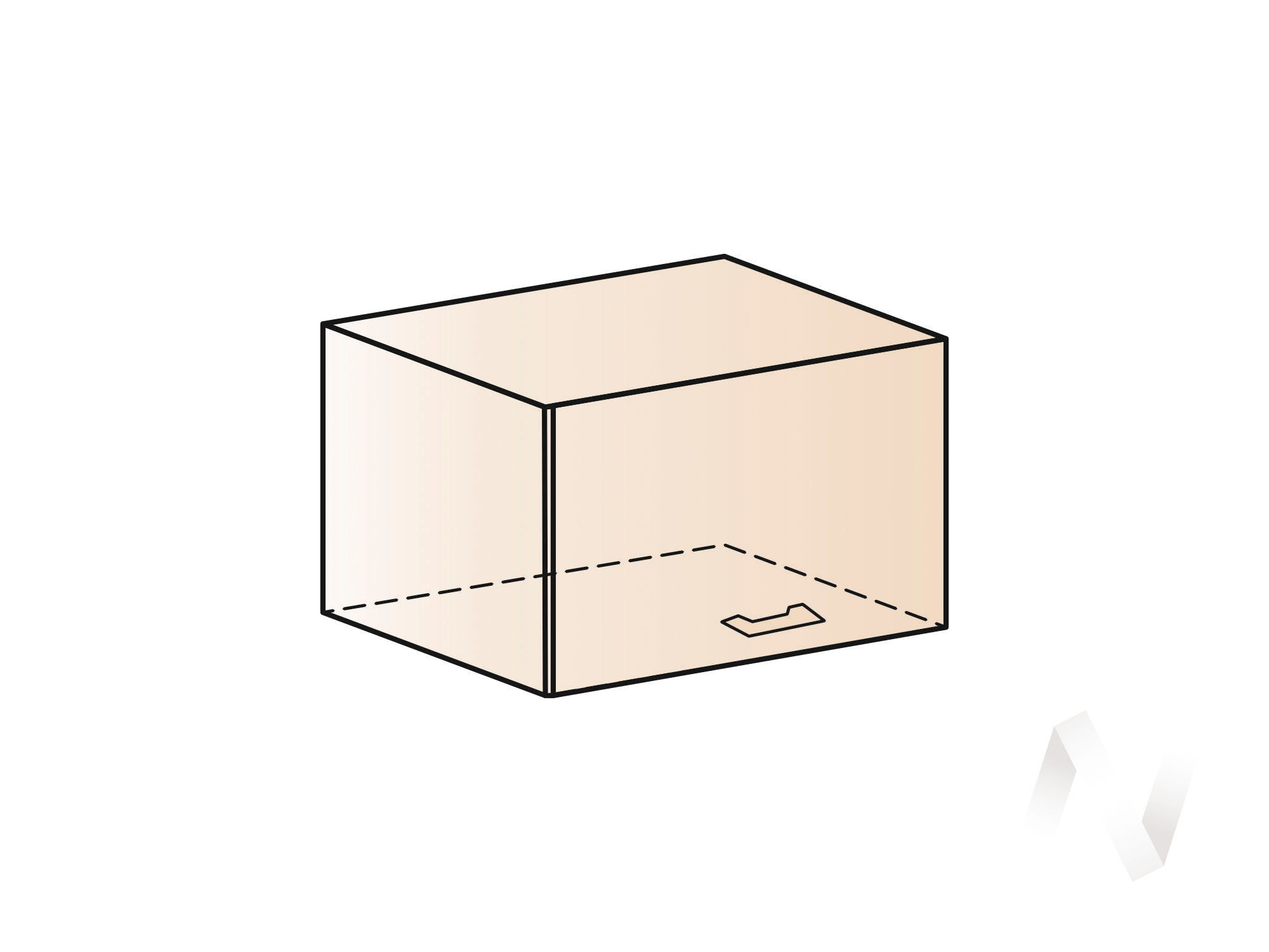 """Кухня """"Люкс"""": Шкаф верхний горизонтальный 600, ШВГ 600 (Шелк жемчуг/корпус белый) в Новосибирске в интернет-магазине мебели kuhnya54.ru"""