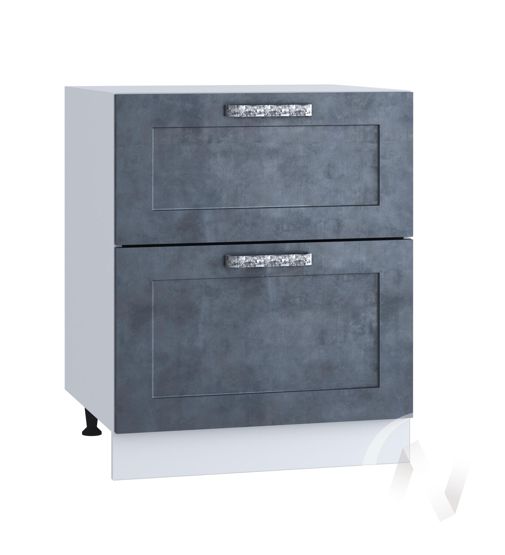 "Кухня ""Лофт"": Шкаф нижний с 2-мя ящиками 600, ШН2Я 600 (Бетон графит/корпус белый)"