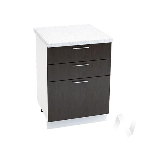 """Кухня """"Валерия-М"""": Шкаф нижний с 3-мя ящиками 600, ШН3Я 600 (венге/корпус белый)"""