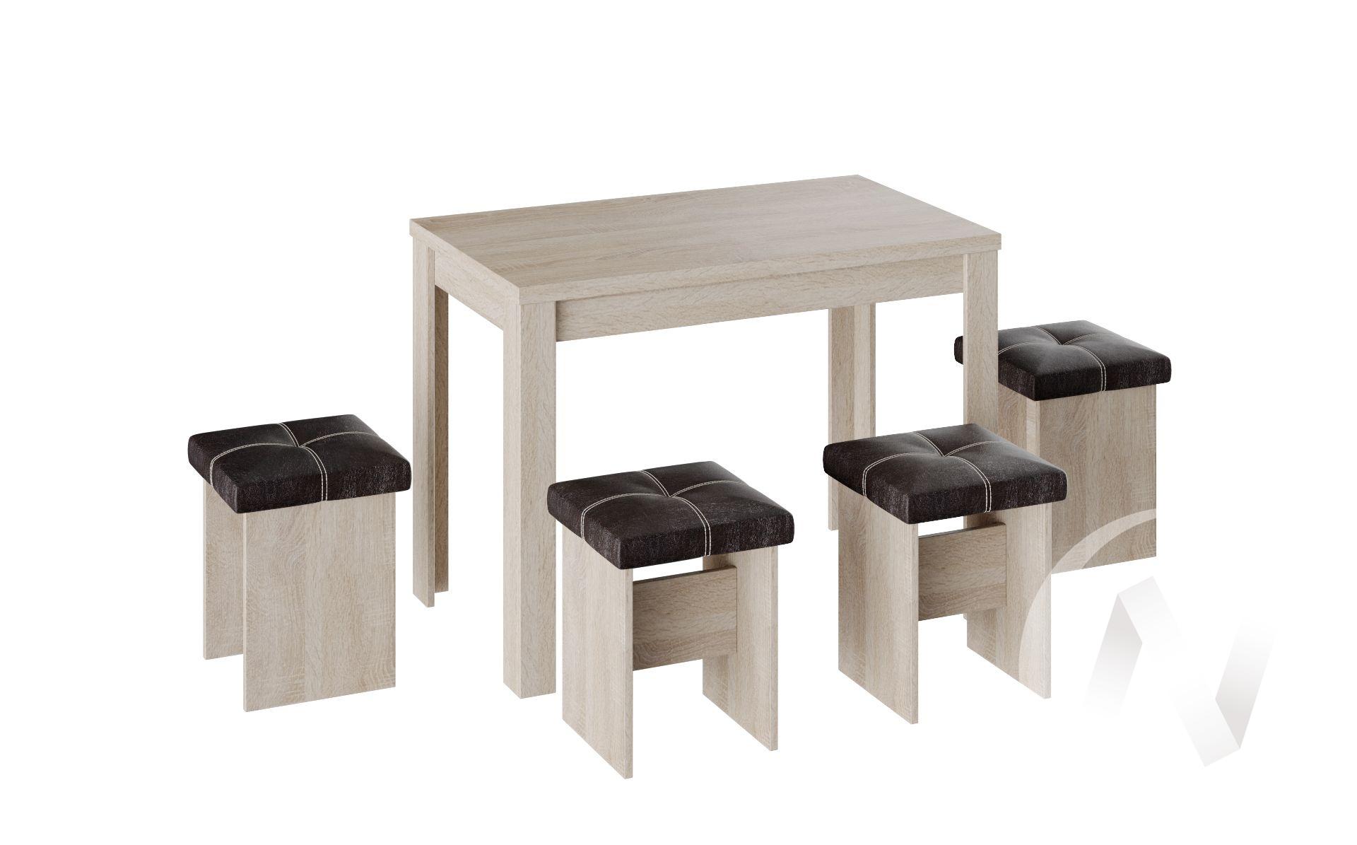 Обеденная группа тип 5 кожзам (дуб сонома/шоколад)  в Томске — интернет магазин МИРА-мебель