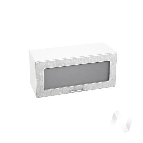 """Кухня """"Валерия-М"""": Шкаф верхний горизонтальный со стеклом 800, ШВГС 800 (дождь серый/корпус белый)"""