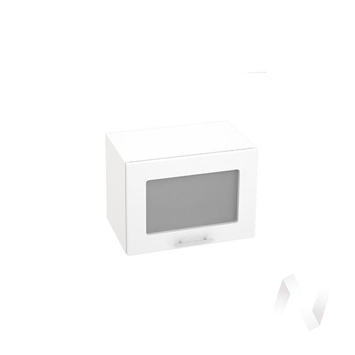 """Кухня """"Валерия-М"""": Шкаф верхний горизонтальный со стеклом 500, ШВГС 500 (бел.металлик/корпус белый)"""