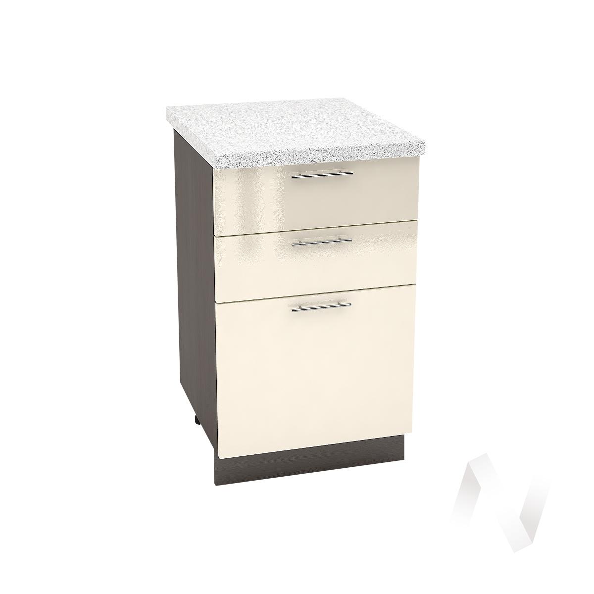 """Кухня """"Валерия-М"""": Шкаф нижний с 3-мя ящиками 500, ШН3Я 500 (Ваниль глянец/корпус венге)"""