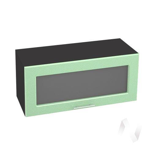"""Кухня """"Вега"""": Шкаф верхний горизонтальный со стеклом 800, ШВГС 800 (салатовый металлик/корпус венге)"""