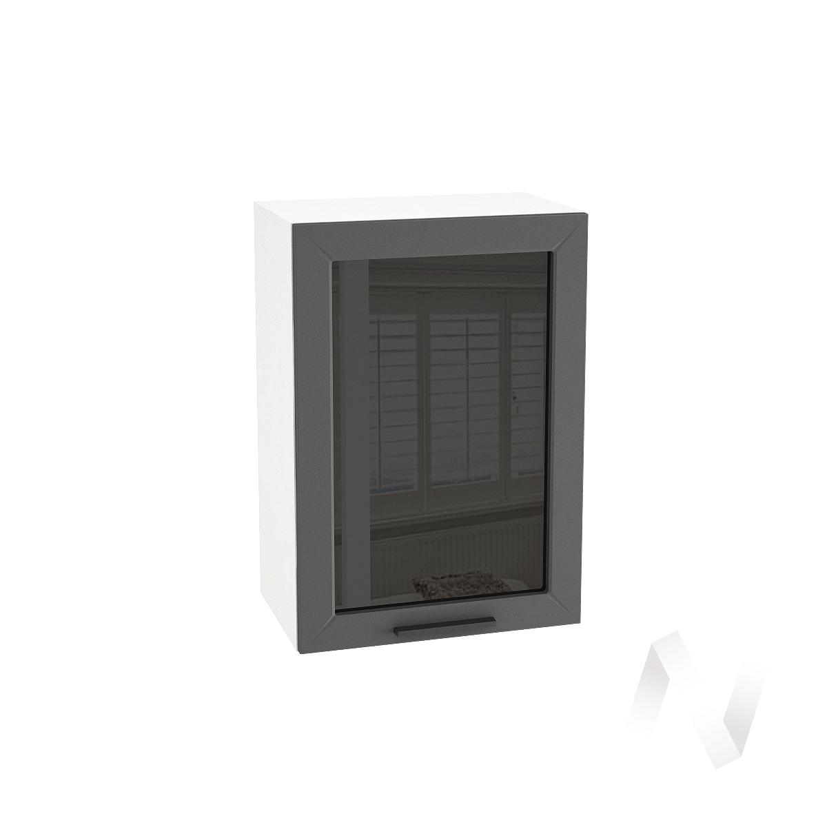 "Кухня ""Глетчер"": Шкаф верхний со стеклом 500, ШВС 500 (Маренго силк/корпус белый)"
