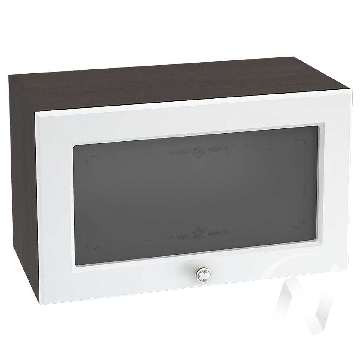 """Кухня """"Шарлиз"""": Шкаф верхний горизонтальный со стеклом 600, ШВГС 600 (корпус венге)"""