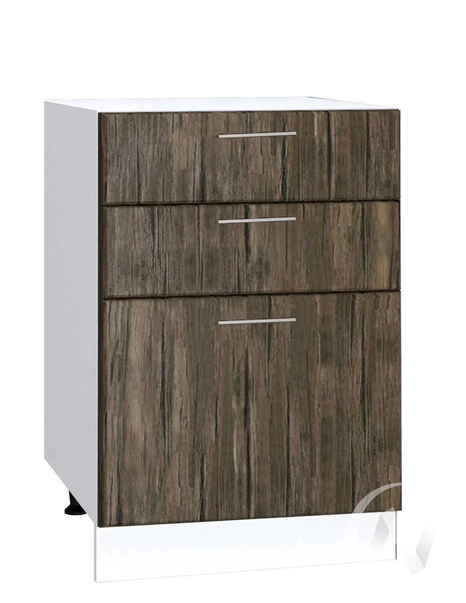 """Кухня """"Норден"""": Шкаф нижний с 3-мя ящиками 500, ШН3Я 500 (старое дерево/корпус белый)"""