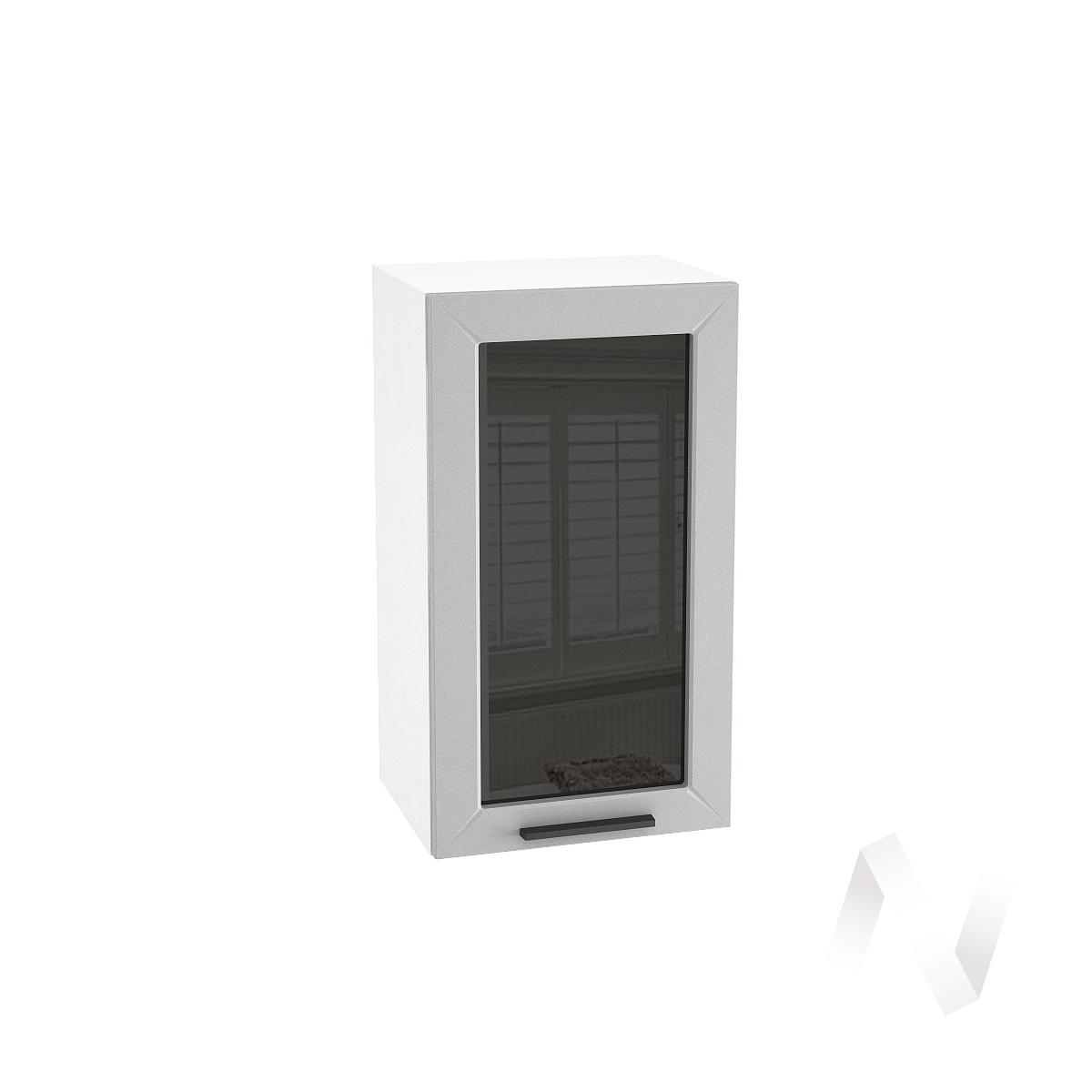 """Кухня """"Глетчер"""": Шкаф верхний со стеклом 400, ШВС 400 (Гейнсборо силк/корпус белый)"""