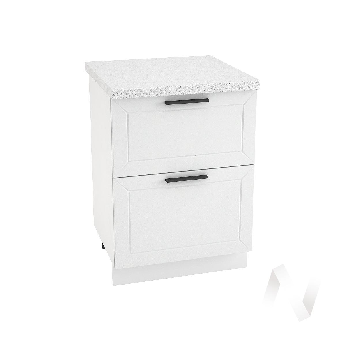 "Кухня ""Глетчер"": Шкаф нижний с 2-мя ящиками 600, ШН2Я 600 (Айленд Силк/корпус белый)"