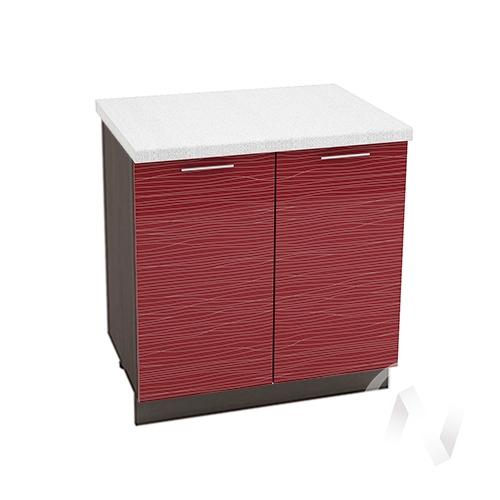 """Кухня """"Валерия-М"""": Шкаф нижний 800, ШН 800 (Страйп красный/корпус венге)"""