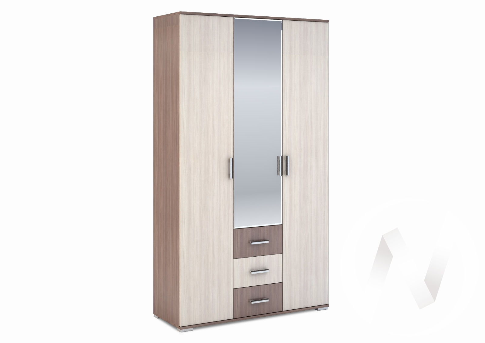 Шкаф 3-створчатый с ящиками 1200 Рошель (ясень шимо тем/ясень шимо свет) ШК-803