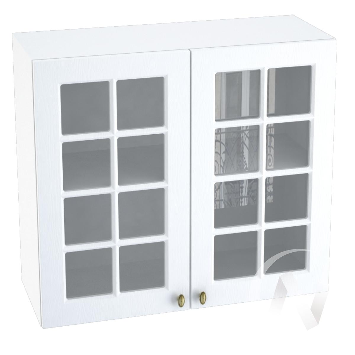"""Кухня """"Прованс"""": Шкаф верхний со стеклом 800, ШВС 800 (белое дерево/корпус белый)"""