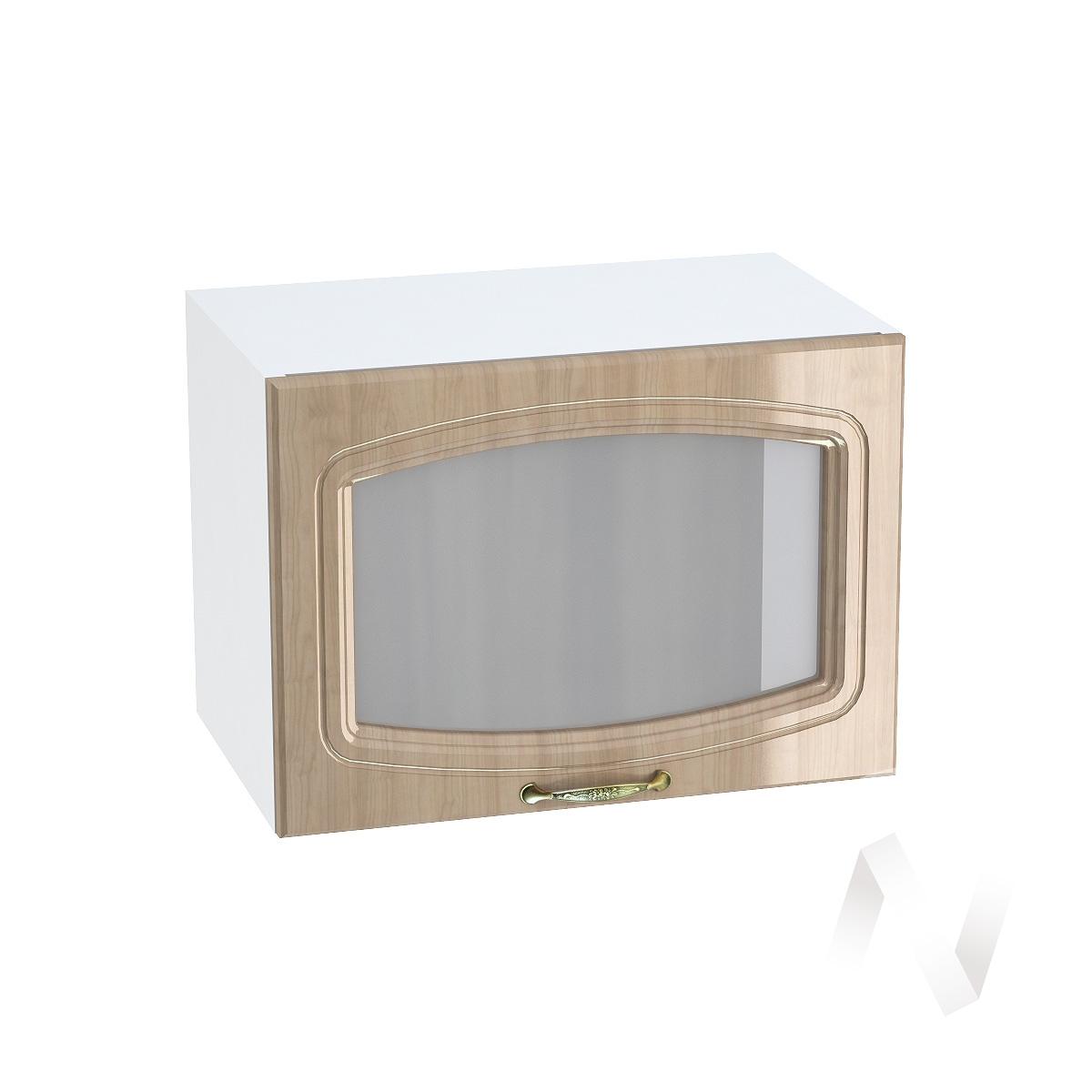 """Кухня """"Сити"""": Шкаф верхний горизонтальный со стеклом 500, ШВГС 500 (корпус белый)  в Новосибирске - интернет магазин Мебельный Проспект"""