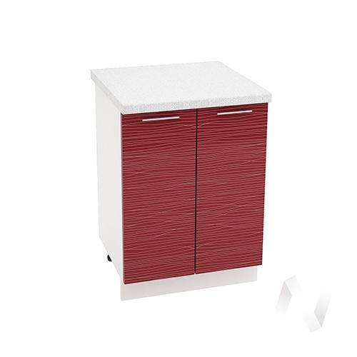 "Кухня ""Валерия-М"": Шкаф нижний 600, ШН 600 (Страйп красный/корпус белый)"