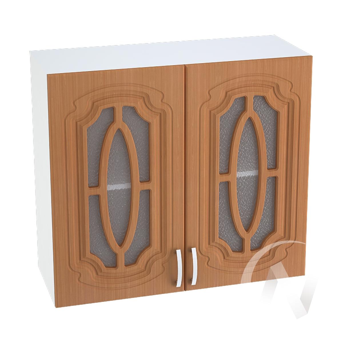 """Кухня """"Настя"""": Шкаф верхний со стеклом 800, ШВС 800 (Орех миланский/корпус белый)"""