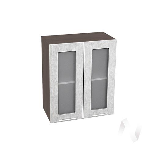 """Кухня """"Валерия-М"""": Шкаф верхний со стеклом 600, ШВС 600 (дождь серый/корпус венге)"""